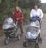 Pushchair users on path